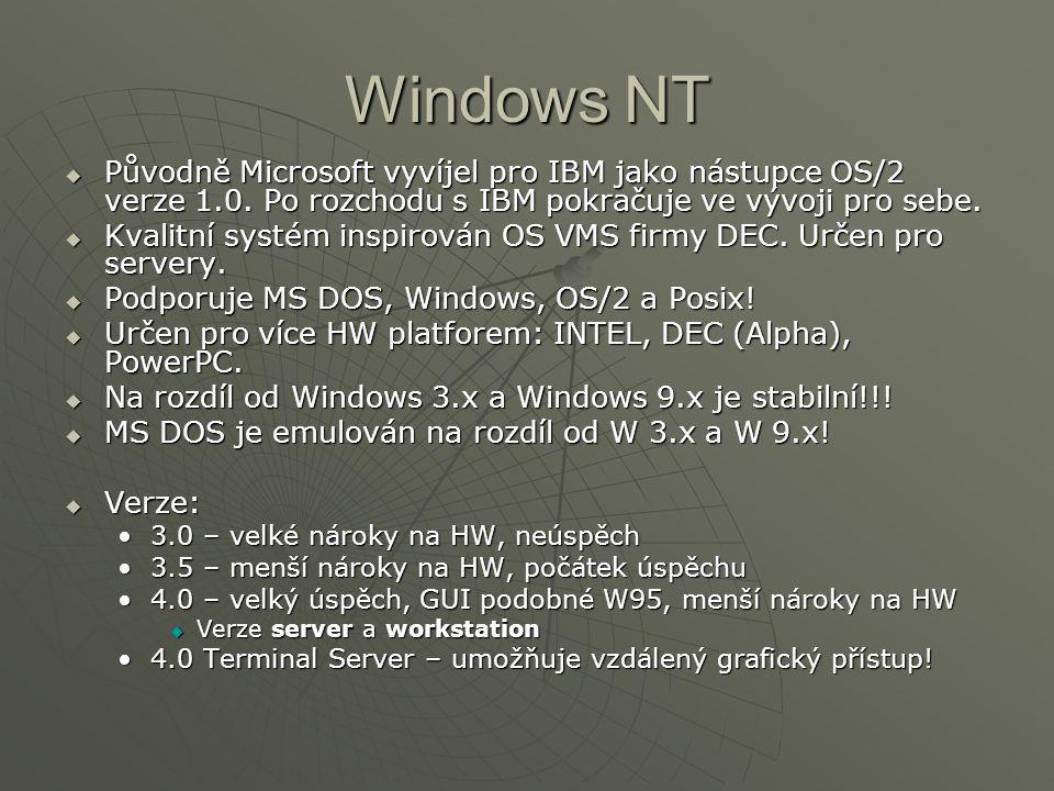 Windows NT Původně Microsoft vyvíjel pro IBM jako nástupce OS/2 verze 1.0. Po rozchodu s IBM pokračuje ve vývoji pro sebe.