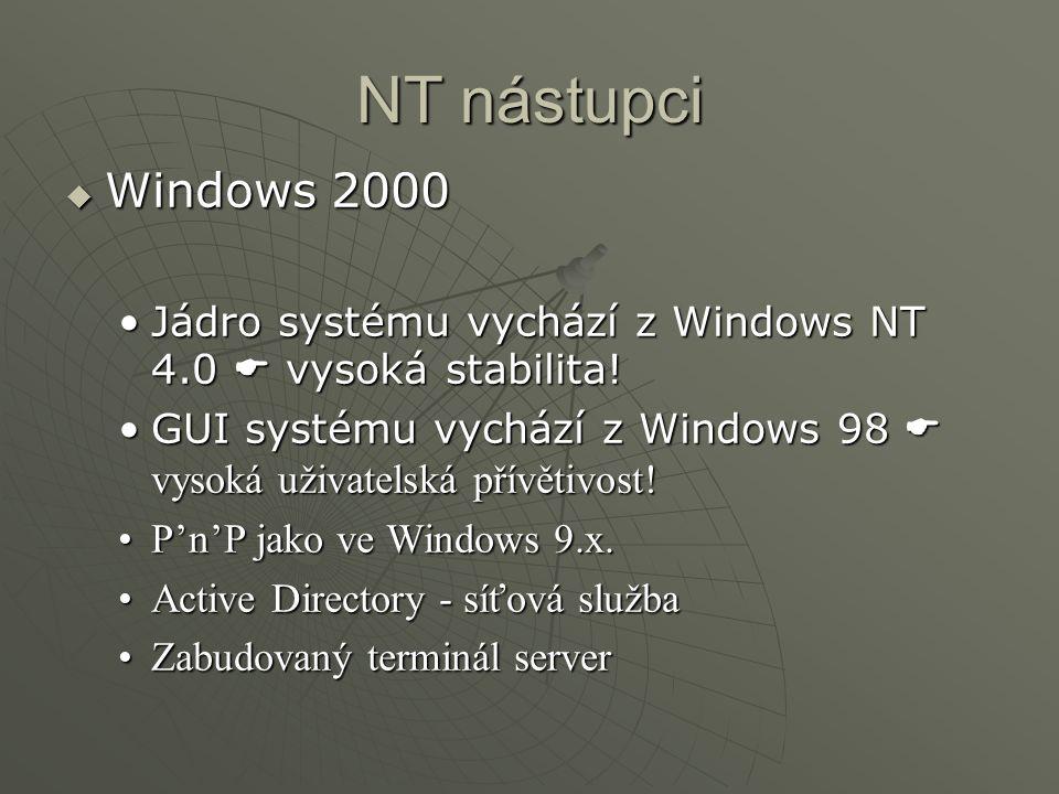 NT nástupci Windows 2000. Jádro systému vychází z Windows NT 4.0  vysoká stabilita!