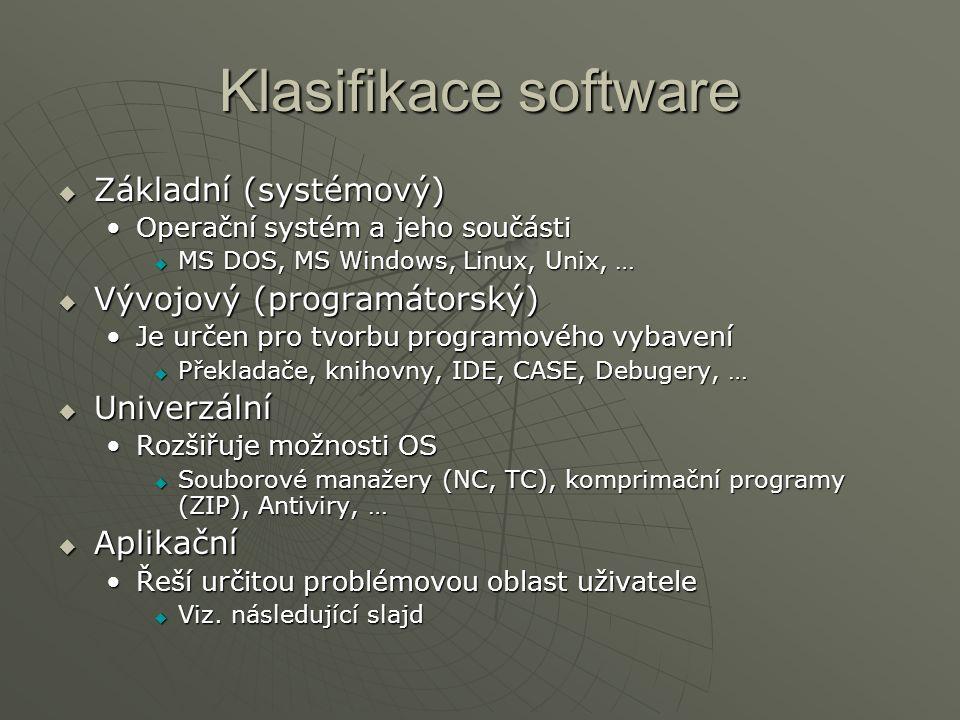 Klasifikace software Základní (systémový) Vývojový (programátorský)