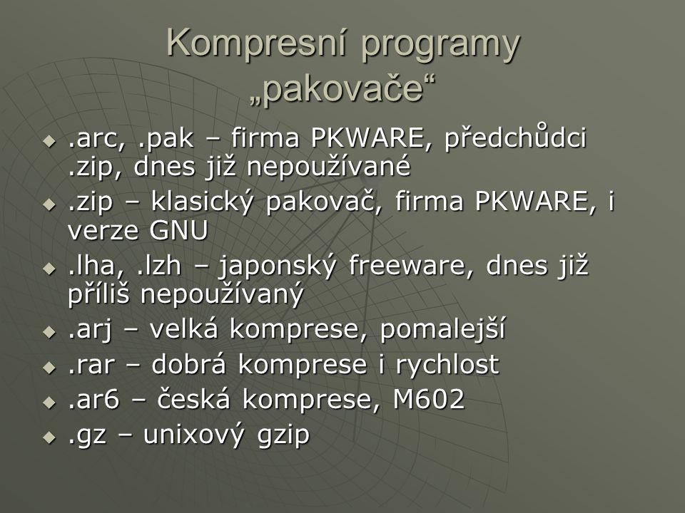 """Kompresní programy """"pakovače"""
