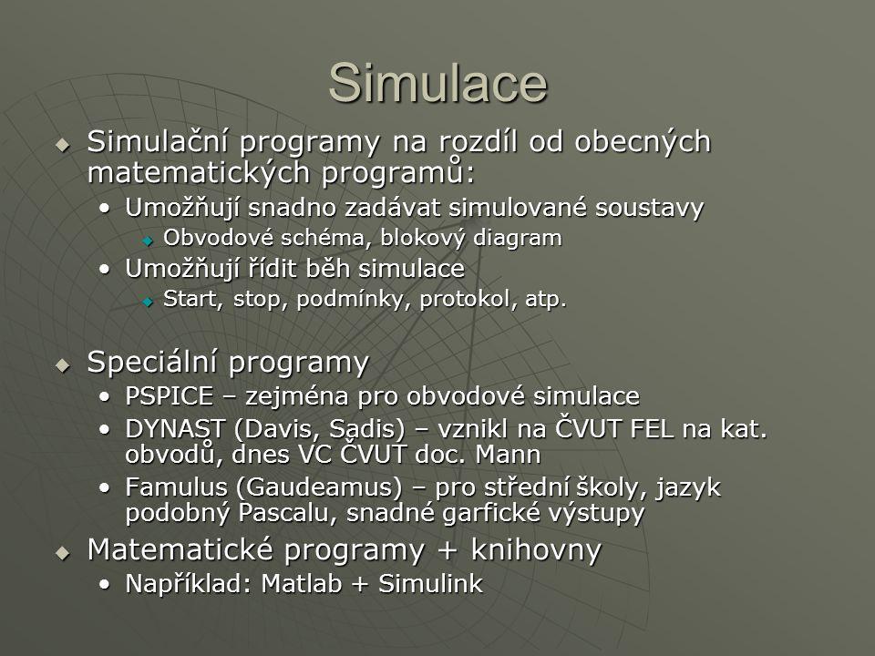 Simulace Simulační programy na rozdíl od obecných matematických programů: Umožňují snadno zadávat simulované soustavy.
