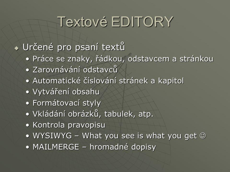 Textové EDITORY Určené pro psaní textů
