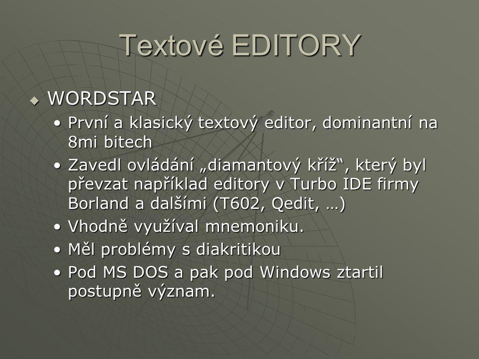 Textové EDITORY WORDSTAR