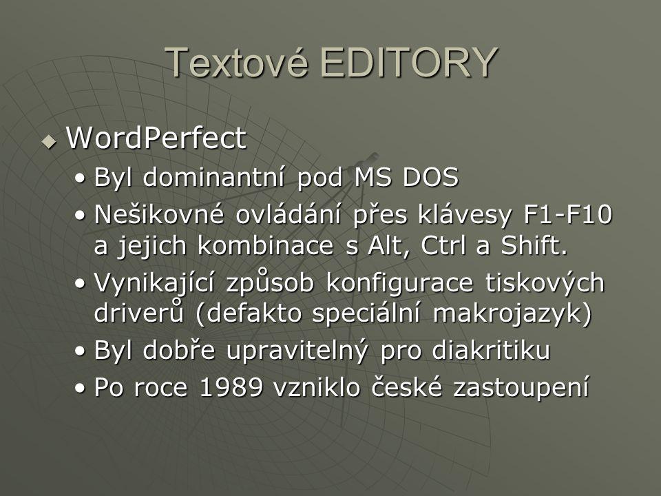 Textové EDITORY WordPerfect Byl dominantní pod MS DOS