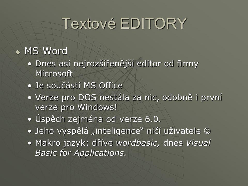 Textové EDITORY MS Word