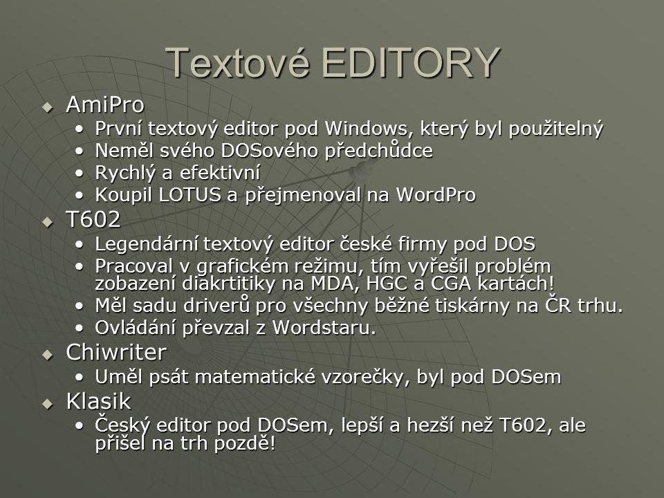 Textové EDITORY AmiPro T602 Chiwriter Klasik