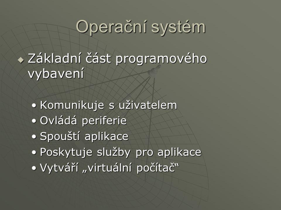 Operační systém Základní část programového vybavení