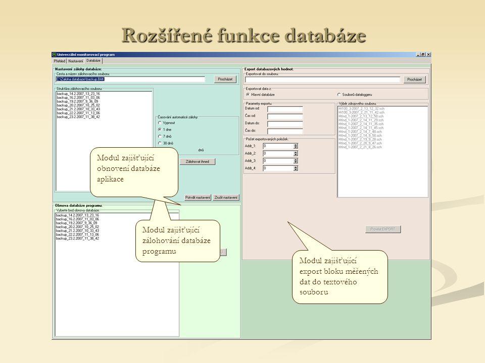 Rozšířené funkce databáze