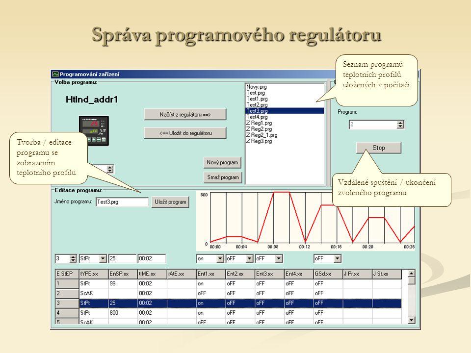 Správa programového regulátoru