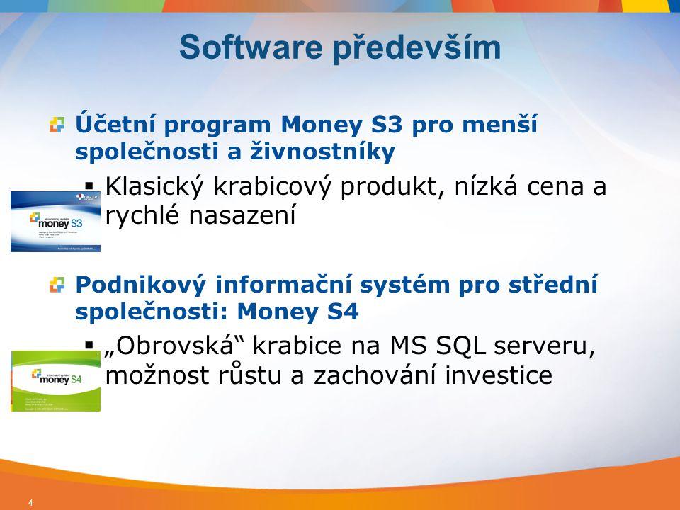 Software především Účetní program Money S3 pro menší společnosti a živnostníky. Klasický krabicový produkt, nízká cena a rychlé nasazení.