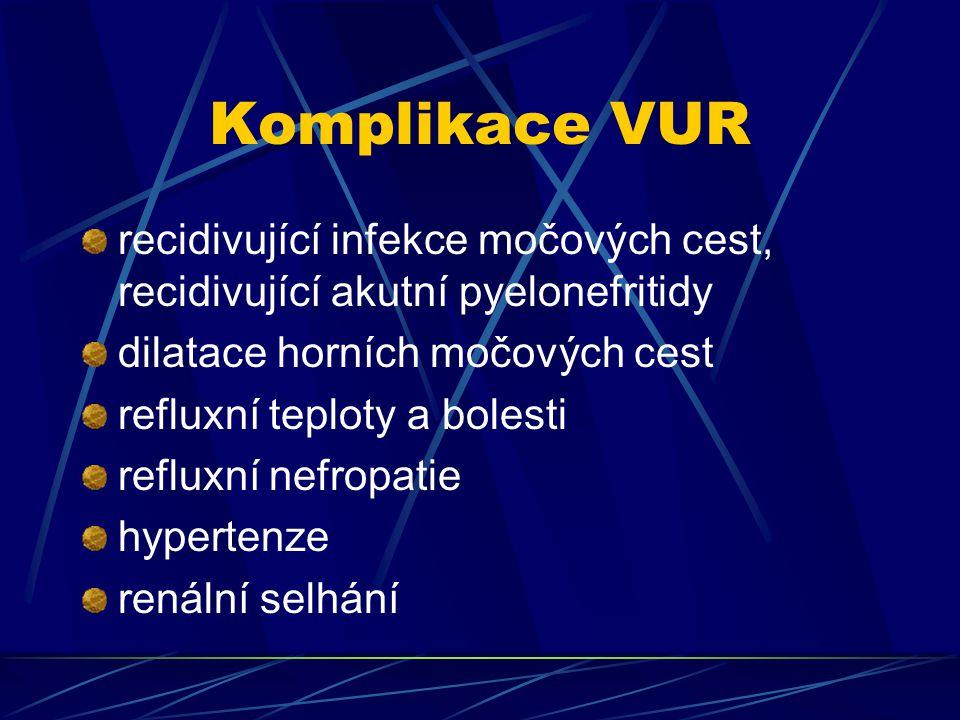 Komplikace VUR recidivující infekce močových cest, recidivující akutní pyelonefritidy. dilatace horních močových cest.