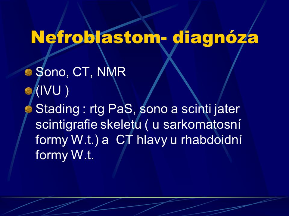 Nefroblastom- diagnóza