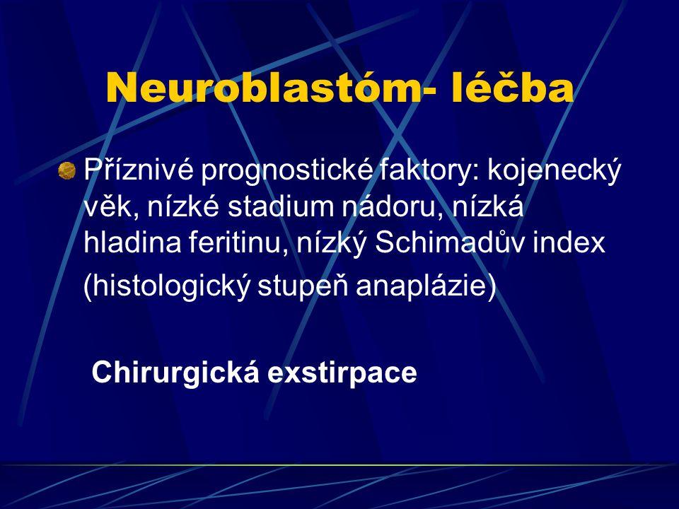 Neuroblastóm- léčba Příznivé prognostické faktory: kojenecký věk, nízké stadium nádoru, nízká hladina feritinu, nízký Schimadův index.