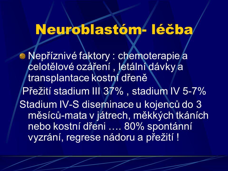 Neuroblastóm- léčba Nepříznivé faktory : chemoterapie a celotělové ozáření , letální dávky a transplantace kostní dřeně.