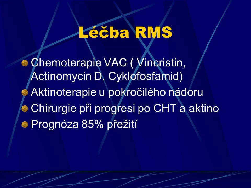 Léčba RMS Chemoterapie VAC ( Vincristin, Actinomycin D, Cyklofosfamid)