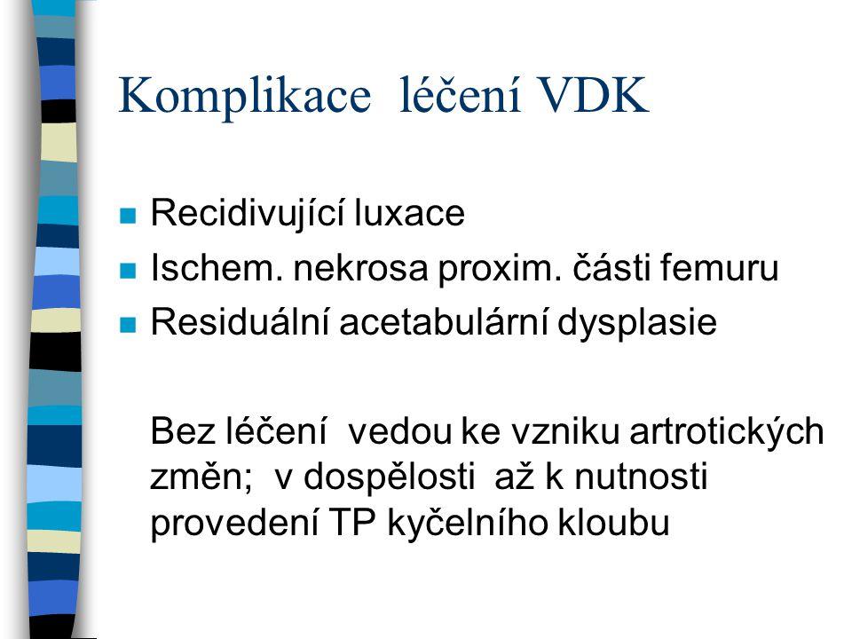 Komplikace léčení VDK Recidivující luxace