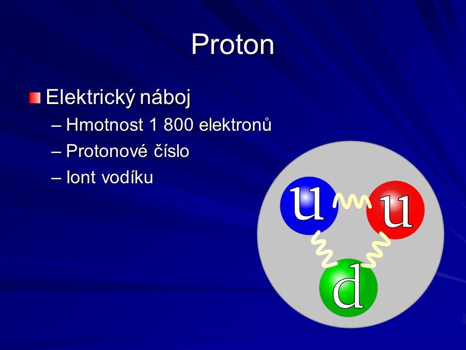 Proton Elektrický náboj Hmotnost 1 800 elektronů Protonové číslo