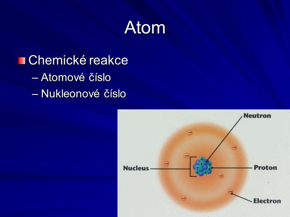 Atom Chemické reakce Atomové číslo Nukleonové číslo