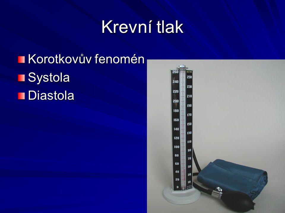 Krevní tlak Korotkovův fenomén Systola Diastola