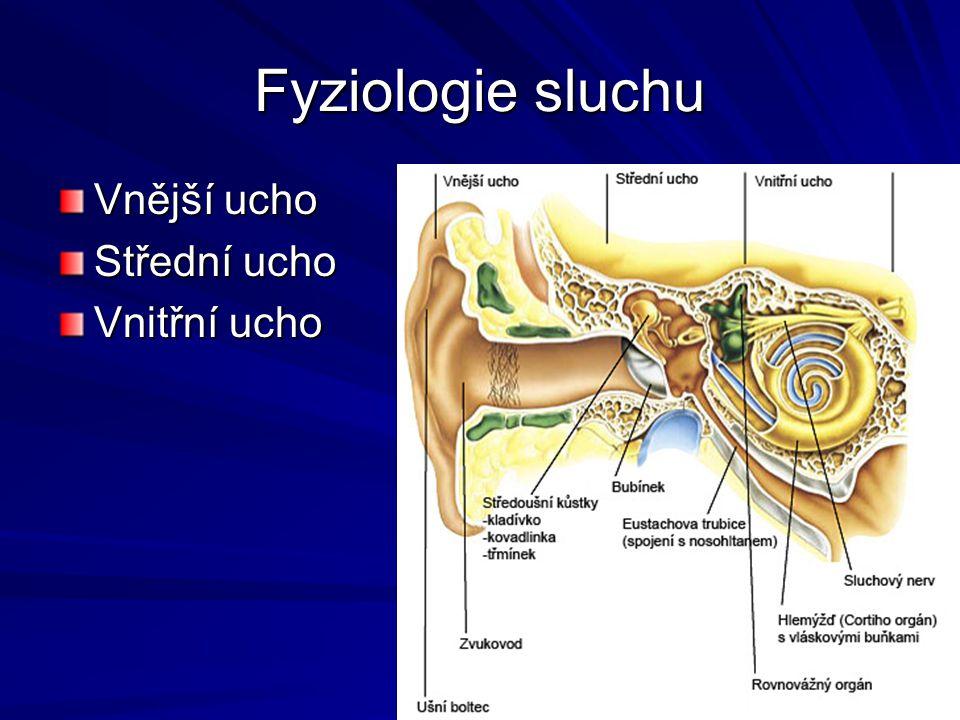 Fyziologie sluchu Vnější ucho Střední ucho Vnitřní ucho