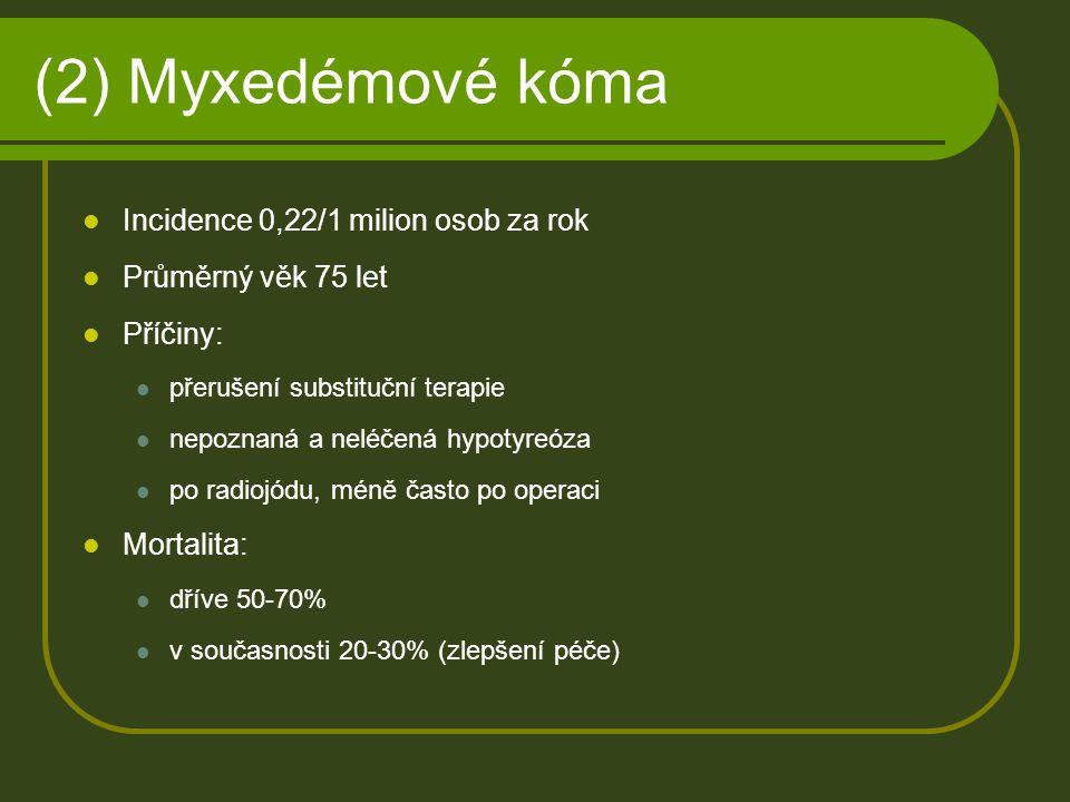 (2) Myxedémové kóma Incidence 0,22/1 milion osob za rok