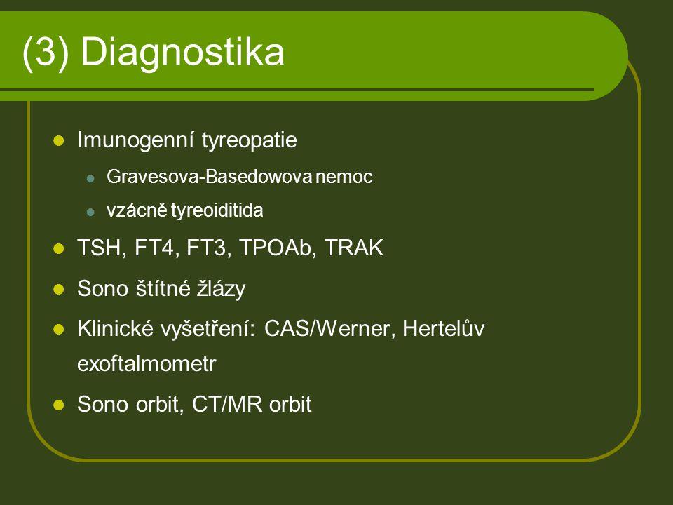 (3) Diagnostika Imunogenní tyreopatie TSH, FT4, FT3, TPOAb, TRAK
