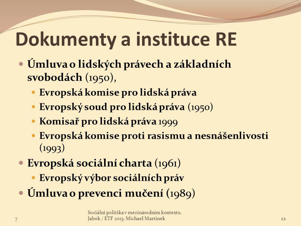 Dokumenty a instituce RE