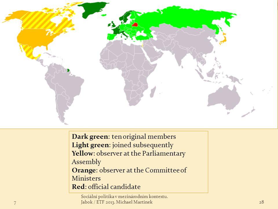 Dark green: ten original members Light green: joined subsequently