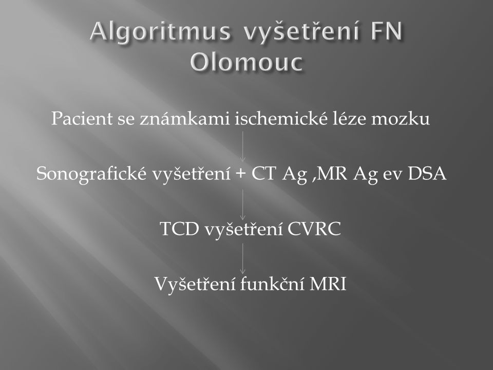 Algoritmus vyšetření FN Olomouc