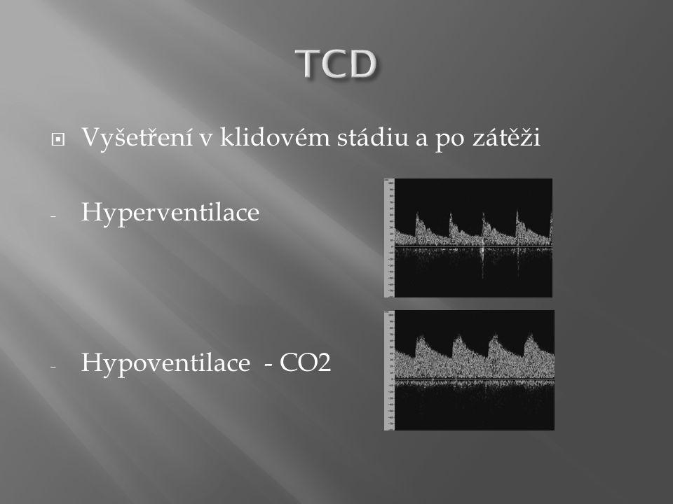 TCD Vyšetření v klidovém stádiu a po zátěži Hyperventilace