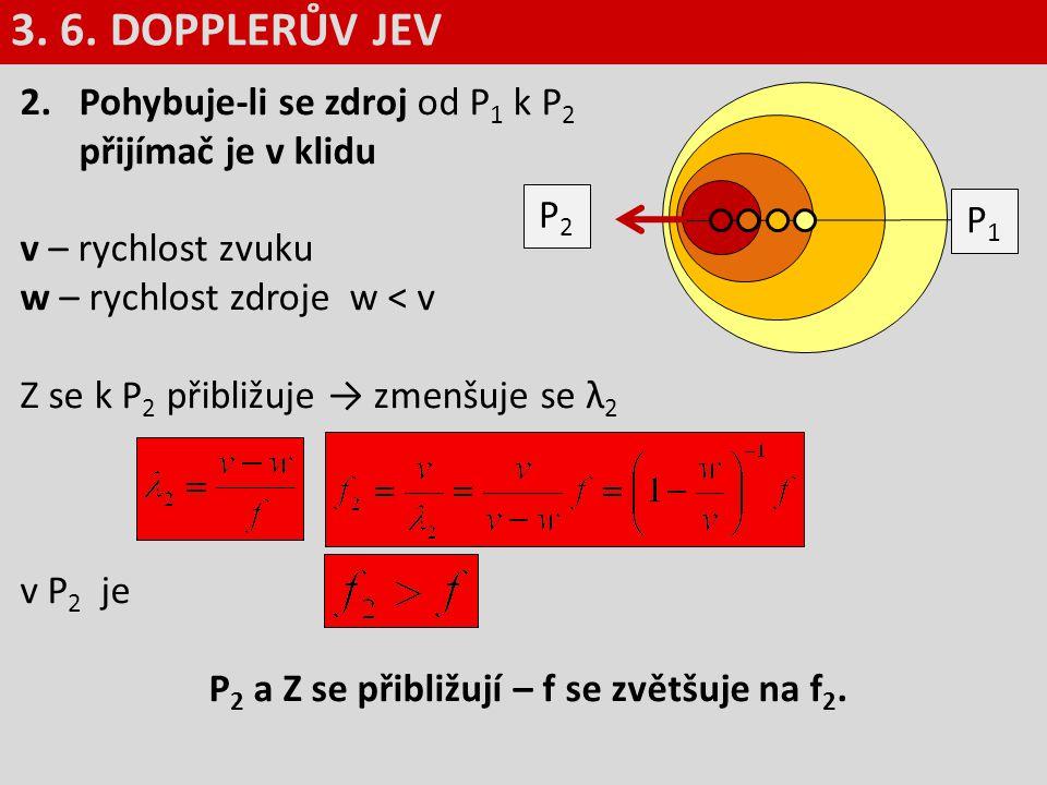 P2 a Z se přibližují – f se zvětšuje na f2.