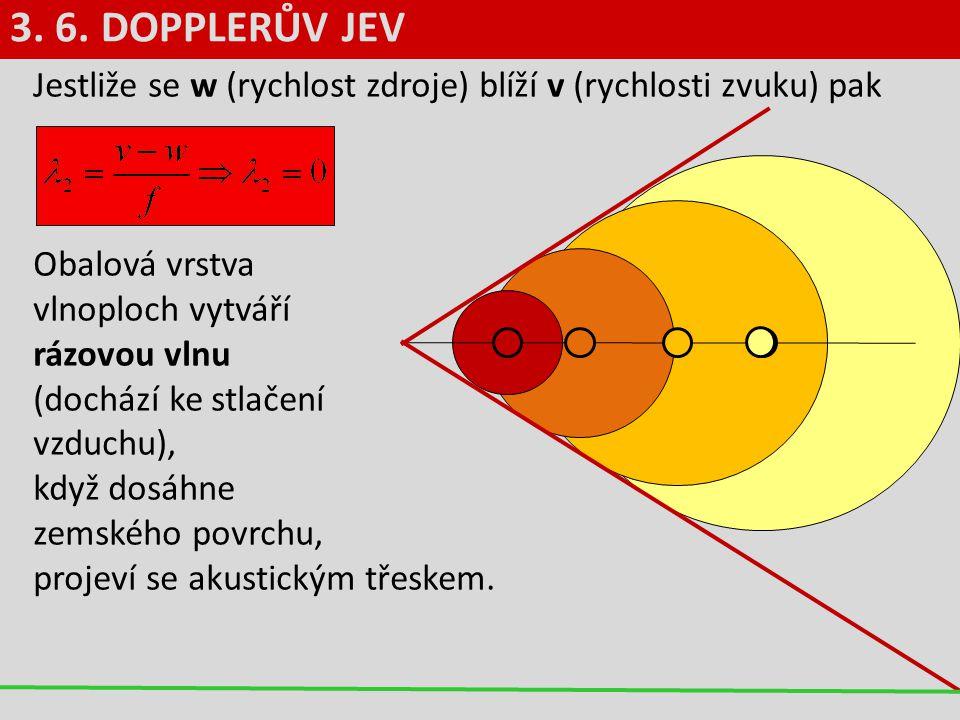 3. 6. DOPPLERŮV JEV Jestliže se w (rychlost zdroje) blíží v (rychlosti zvuku) pak.