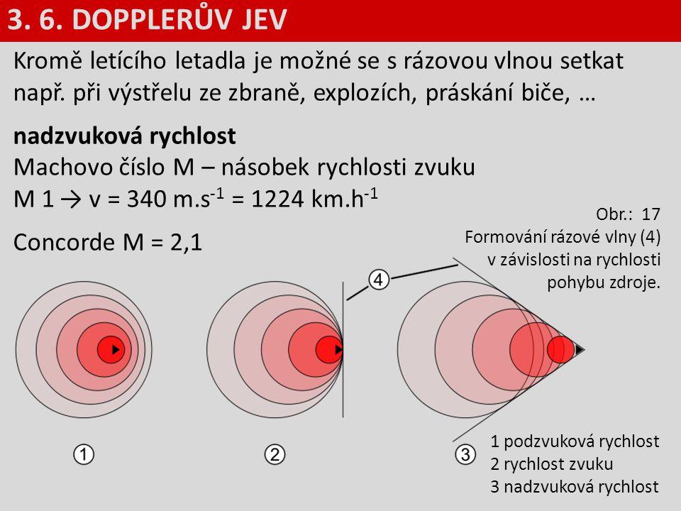 3. 6. DOPPLERŮV JEV Kromě letícího letadla je možné se s rázovou vlnou setkat např. při výstřelu ze zbraně, explozích, práskání biče, …