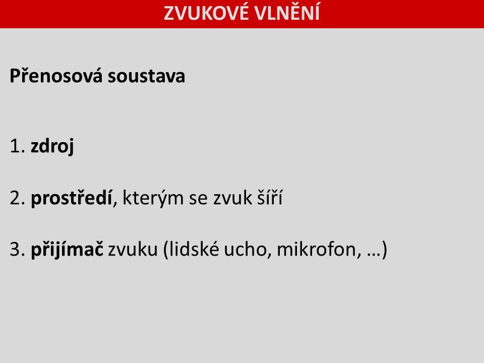 ZVUKOVÉ VLNĚNÍ Přenosová soustava. 1. zdroj.