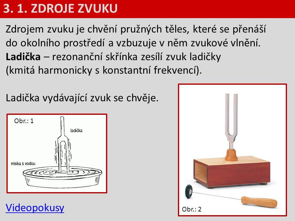 3. 1. ZDROJE ZVUKU Zdrojem zvuku je chvění pružných těles, které se přenáší do okolního prostředí a vzbuzuje v něm zvukové vlnění.