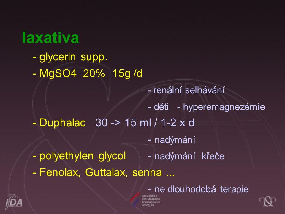 laxativa - glycerin supp. - MgSO4 20% 15g /d - renální selhávání