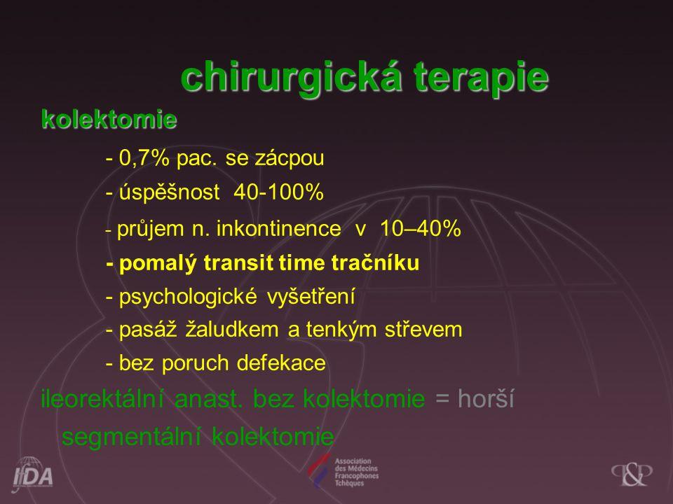 chirurgická terapie kolektomie - 0,7% pac. se zácpou