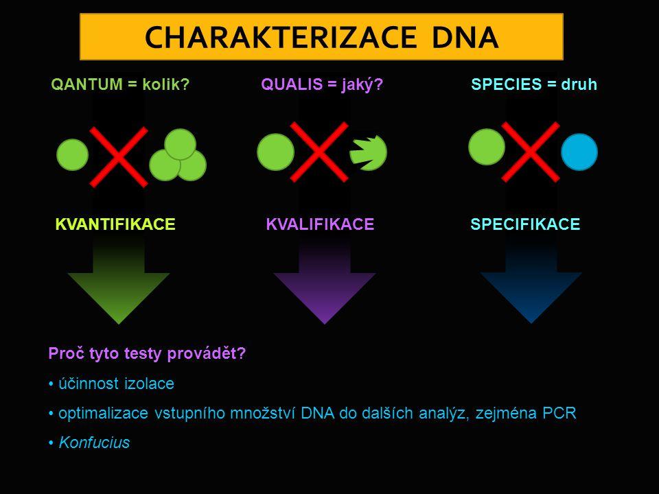 CHARAKTERIZACE DNA QANTUM = kolik KVANTIFIKACE QUALIS = jaký
