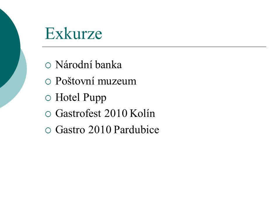 Exkurze Národní banka Poštovní muzeum Hotel Pupp Gastrofest 2010 Kolín