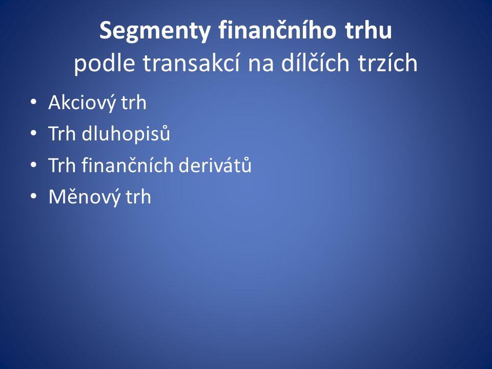 Segmenty finančního trhu podle transakcí na dílčích trzích
