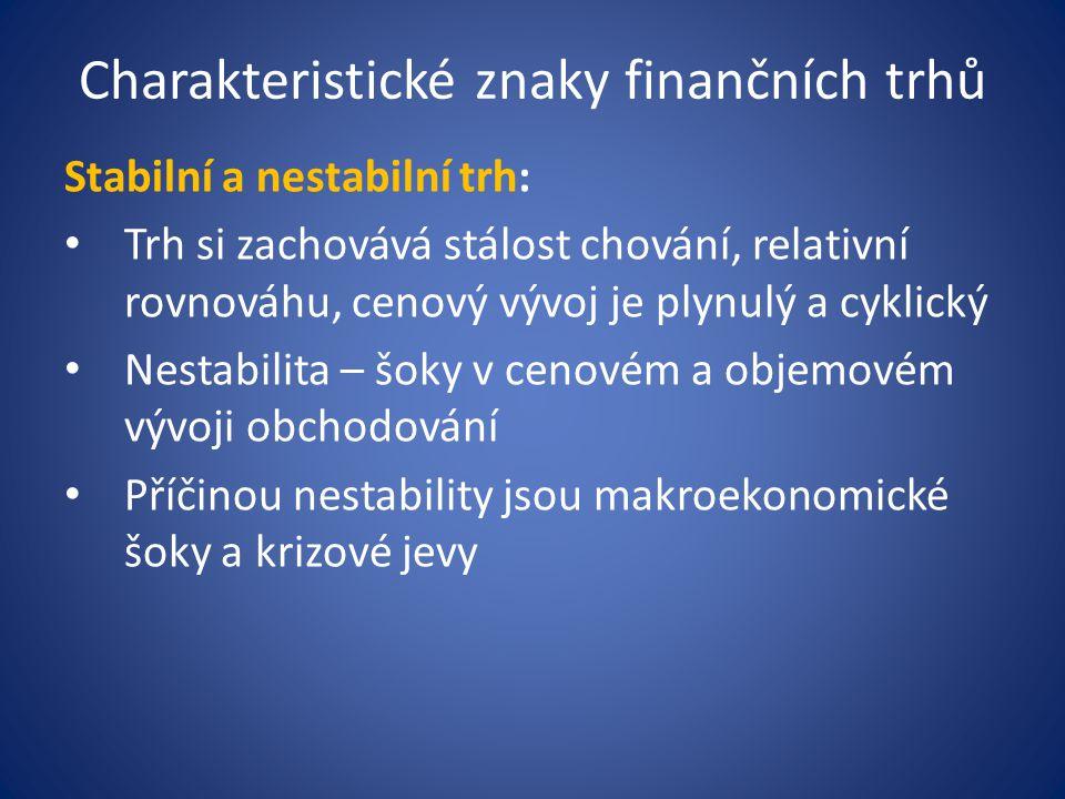 Charakteristické znaky finančních trhů
