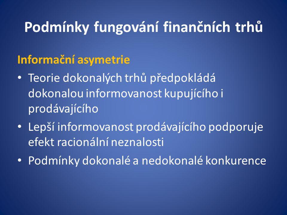 Podmínky fungování finančních trhů