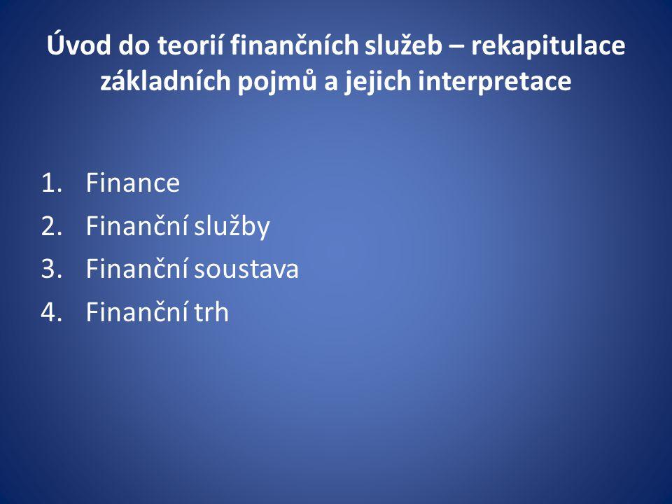 Úvod do teorií finančních služeb – rekapitulace základních pojmů a jejich interpretace