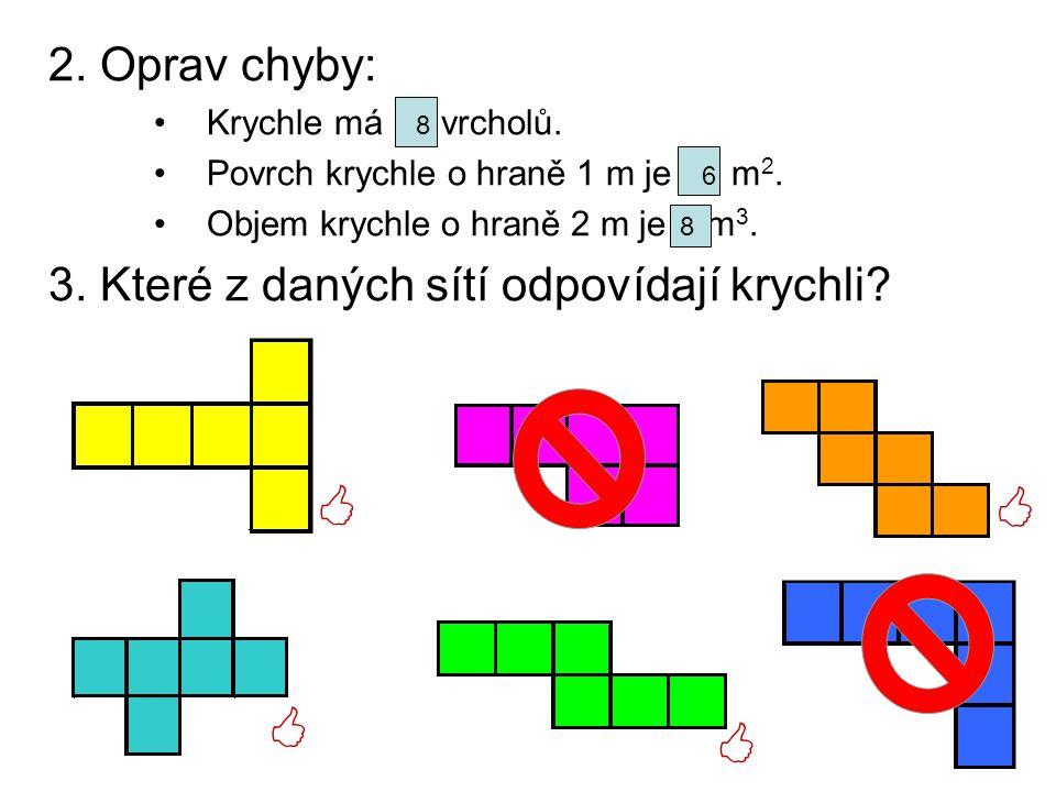     2. Oprav chyby: 3. Které z daných sítí odpovídají krychli