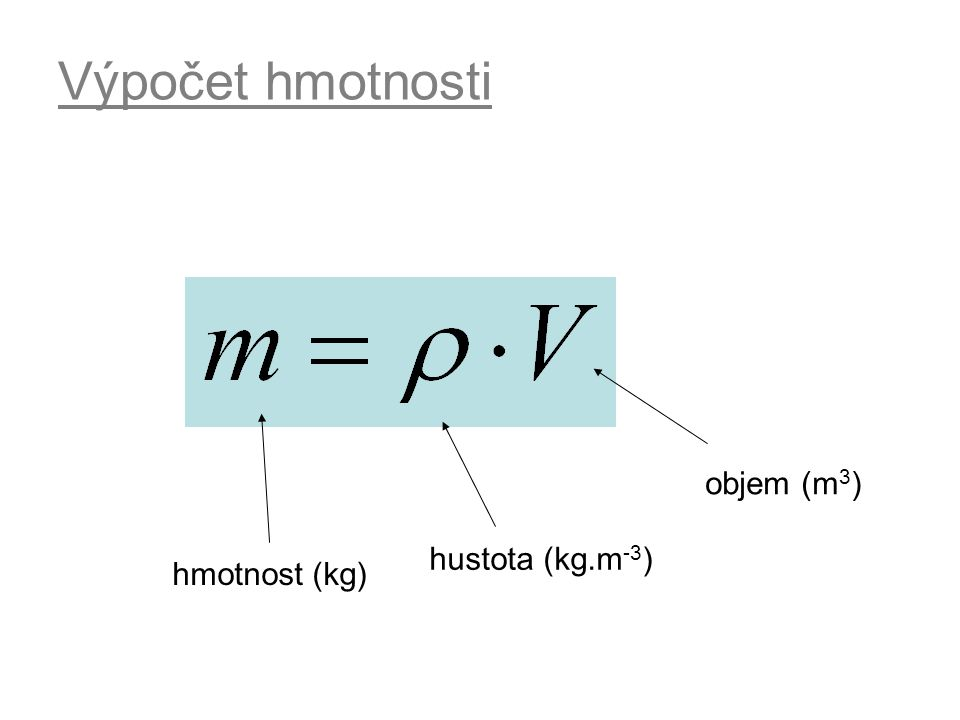 Výpočet hmotnosti objem (m3) hustota (kg.m-3) hmotnost (kg)