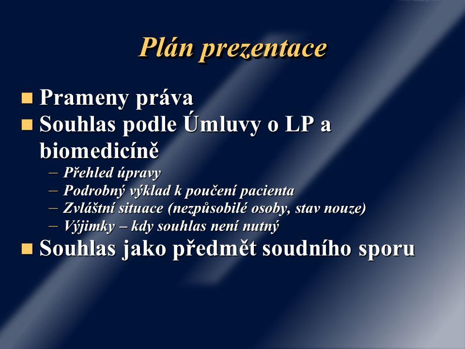 Plán prezentace Prameny práva Souhlas podle Úmluvy o LP a biomedicíně