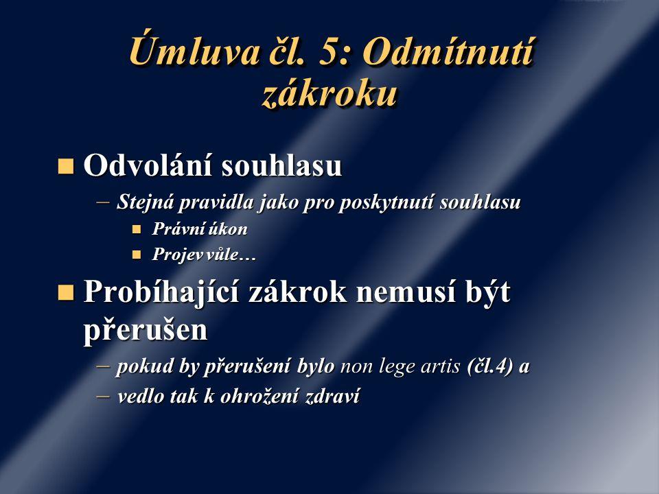 Úmluva čl. 5: Odmítnutí zákroku