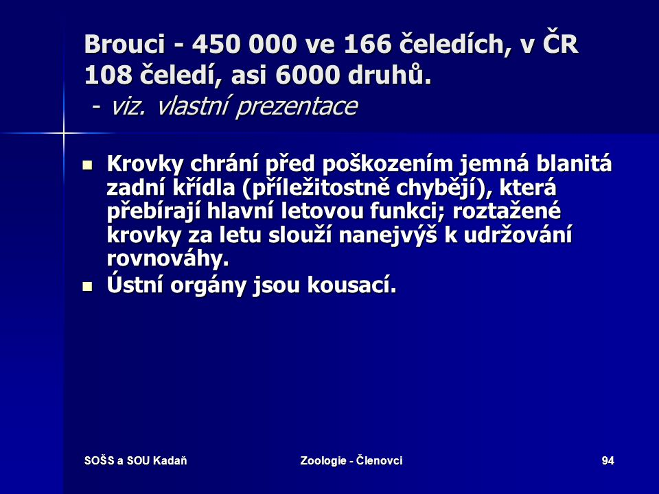 Brouci - 450 000 ve 166 čeledích, v ČR 108 čeledí, asi 6000 druhů