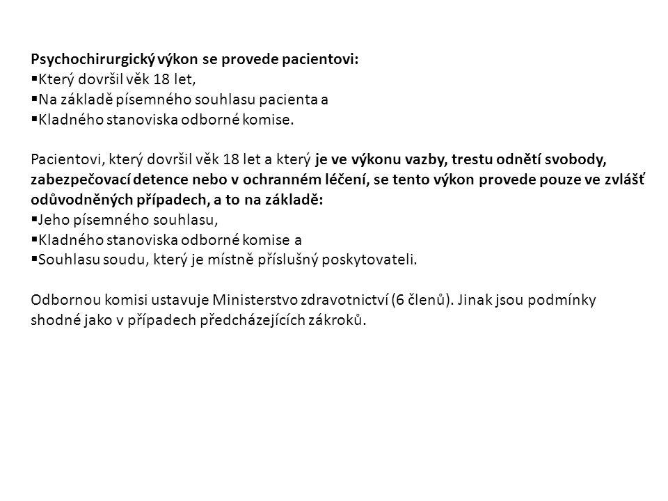 Psychochirurgický výkon se provede pacientovi: