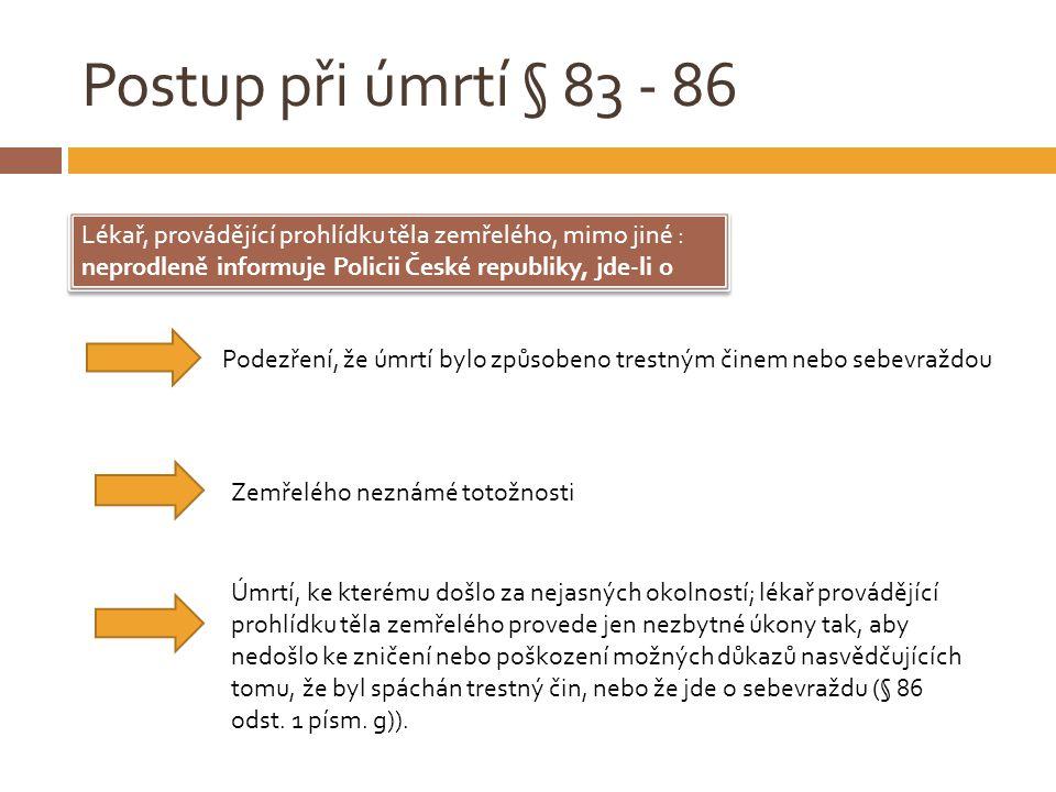 Postup při úmrtí § 83 - 86 Lékař, provádějící prohlídku těla zemřelého, mimo jiné : neprodleně informuje Policii České republiky, jde-li o.